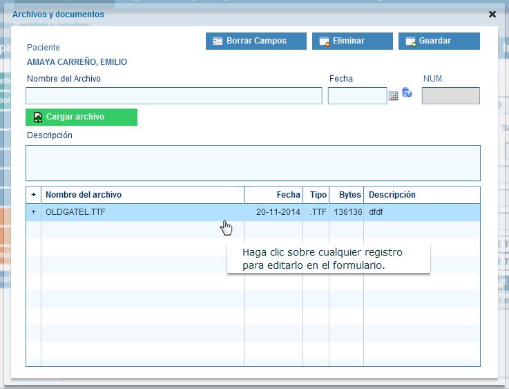 Cargar archivos y documentos de pacientes en historias clinicas