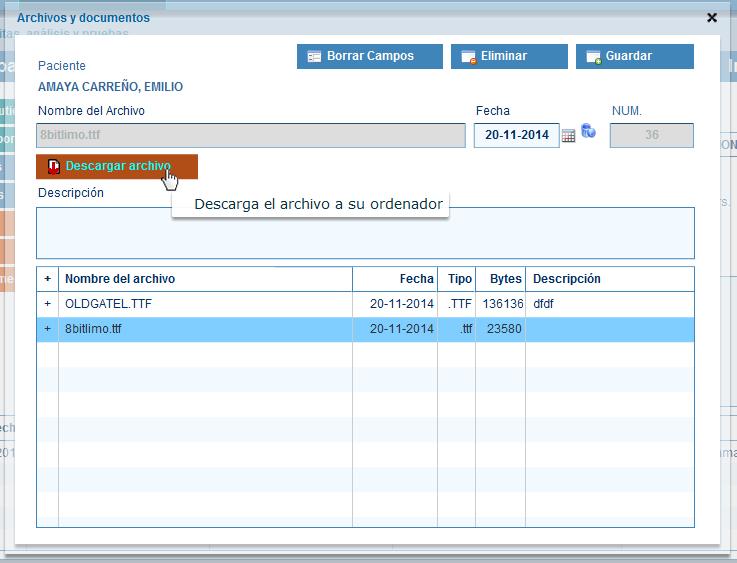 Descargar archivos y documentos de pacientes en historias clinicas
